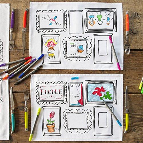 doodle 4er tischsets mit spezialstifte zum kreativ und individuell gestalten. Black Bedroom Furniture Sets. Home Design Ideas