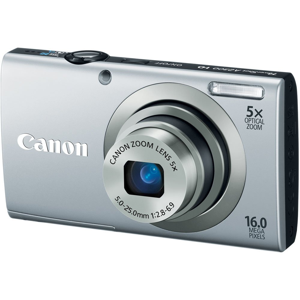 Canon PowerShot A2300 IS 16.0 MP Digital Camera with 5x Optizal Image Stabilized Zoom 28mm Wide-Angle Lens with 720p HD Video Recording (Silver) $89.00