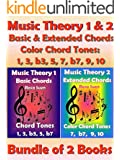 Music Theory 1 & 2 - Basic Chords & Extended Chords - Color Chord Tones: 1, 3, b3, 5, 7 b7, 9, 10 - Bundle of 2 Books: Learn Piano Chords (English Edition)