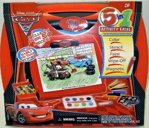 Table Top Easel Folds Open And Closes Easily - Tara Toy Cars2 5-in-1 Activity Easel