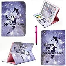 buy Ipad Air Case, Casemart Protective Premium Pu Leather Skin [Book Style] Flip Folio [Kickstand Feature] Cover Case [Card Holder] Stylish Cute Pattern Design For Apple Ipad Air 5Th -Neverland