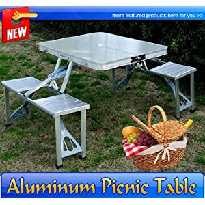 Peachy Frugah Outdoor Aluminum Picnic Table Set Portable Folding Forskolin Free Trial Chair Design Images Forskolin Free Trialorg