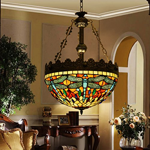 Great  Style Stained Glass Dragonfly Inverted Large Ceiling Pendant Lamp Fixture