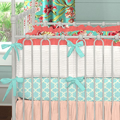 Carousel Designs Coral and Teal Floral Crib Bumper (Carousel Crib Bumper compare prices)