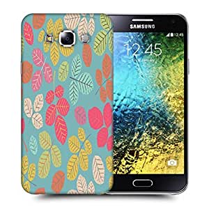 Snoogg Colorful Leaves Printed Protective Phone Back Case Cover ForSamsung Galaxy E5