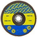 "Sundisc 11016 Type 29 Standard Density Abrasive Super Flap Disc, X Weight Poly/Cotton Blend, Zirconia, 7"" Diameter, 40 Grit, 7/8"" Arbor (Pack of 5)"