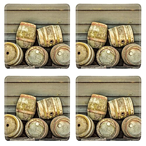 Luxlady Square Coaster retro styled image of a stack of vintage wooden beer barrels IMAGE 28361866 Customized Art Home Kitchen