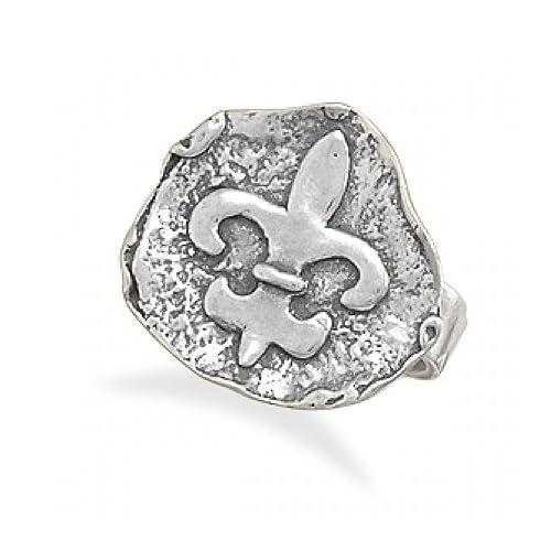 Oxidized Fleur de Lis Ring
