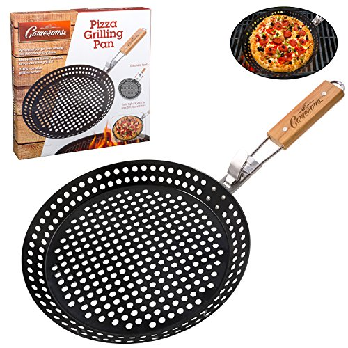 Pizza Grill Pan- 100% Non-Stick Homemade Pizza Pan, Extra High Side Walls and Removable Handle for Easy Grilling