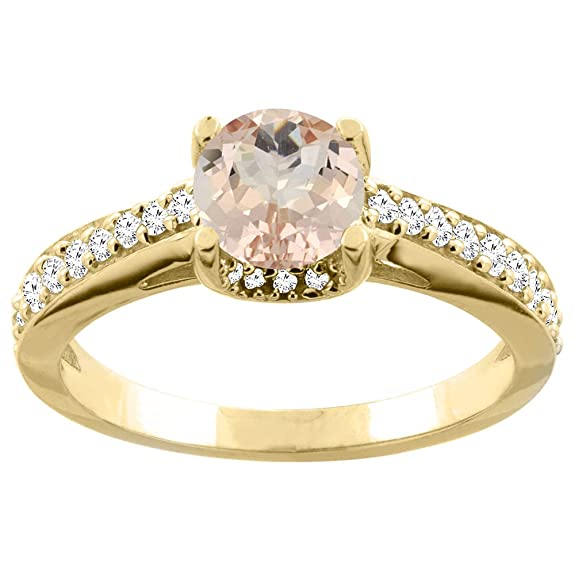 14ct White/Yellow Gold Natural Morganite Ring Round 6mm Diamond Accents 1/4 inch wide, sizes J - T