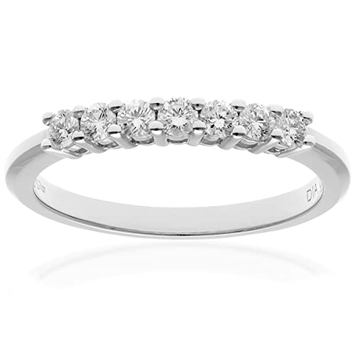 Naava 18 ct White Gold Eternity Ring, IJ/I Certified Diamonds, Round Brilliant, 0.33ct, White Gold, J