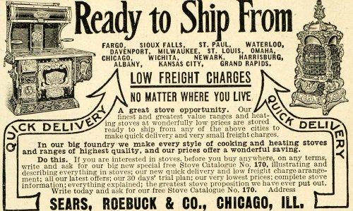 1908 Ad Sears Roebuck Chicago Illinois Stove Home Oven Improvement Kitchen House - Original Print Ad