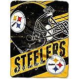 "NFL Pittsburgh Steelers ""Deep Slant"" Micro-Raschel Throw, Black, 46 x 60-Inch"