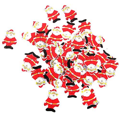 【ノーブランド品】クリスマス ツリー 装飾 飾り 小物 飾りつけ ギフト DIY パーティー 木製 サンタ 50枚
