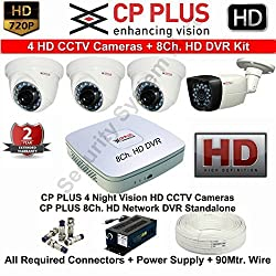 CP PLUS 4 HD CCTV Cameras and 8Ch. HD DVR Kit with all Accessories