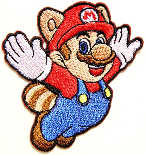 Raccoon Super Mario Bros Brothers Head Logo Cartoon Comic Patch Sew Iron on Embroidered Applique Collection Clothing DIY By