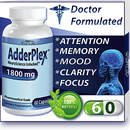 Adderplex to Improve Focus, Added Attention, Mood, Increase Memory, Concentration, Mental Energy, DR Formulated Safe Anti-Stress Natural Alternative With Ginkgo and Phosphatidylserine (Focus Pep compare prices)