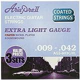 AriaproII アリアプロII エレキギター用コーティング弦 ニッケル エクストラライト 3セットパック AGS-803C  XL