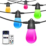 Govee Connectable Outdoor String Lights, DIY Color Changing Waterproof Patio String Light, Support APP/Remote Control for Patio, Fence, Backyard, Wedding, Party 24ft 6 Bulbs (Color: Multi( No Voice Control), Tamaño: 24Ft)