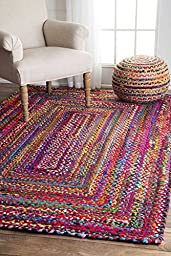 Casual Handmade Braided Cotton Multi Area Rugs, 4 Feet by 6 Feet (4\' x 6\')