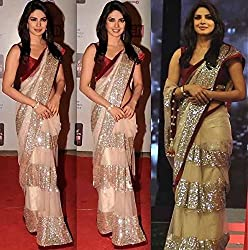 Puffin Fashion Bollywood Designer Embroidary Net Saree With Dupion Blouse Piece