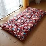 日本製 長座布団 68×120cm しぼりうさぎ柄 綿100%しっかり側生地 (レッド)