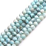 JOE FOREMAN 7mm Blue Larimar Semi Precious Stone AAA Grade Round Loose Beads for Jewelry Making DIY Handmade Craft Supplies 15