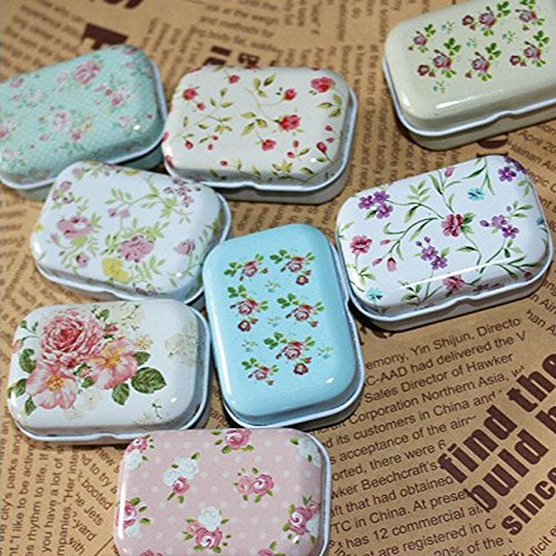 Novelty nice Lovely Flower Iron Tin Storage Bag Gift Mini Jewelry Box Decor Card Pill Case