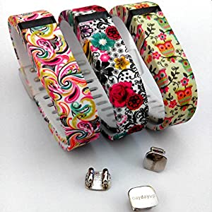 2015 Latest Band Set For Fitbit Flex, Deruitu(TM) Replacement bands Set, Newest Layout, Water Transfer Printing Set With Metal Clasps for Fitbit Flex Activity Tracker/ Wireless Activity+Sleep Wristband/ Sport Bracelet/ Sport Armband (Magic Clouds&Secret Flowers&Owls, Large)