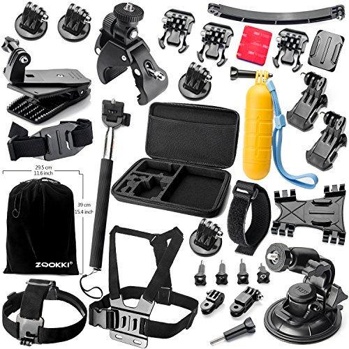 Zookki Accessories Kit for GoPro Hero 5 4 3+ 3 2 1 Black Silver SJ4000 SJ5000 SJ6000, and for Xiaomi Yi/Lightdow/WiMiUS/DBPOWER Action Camera in Parachuting Swimming Rowing