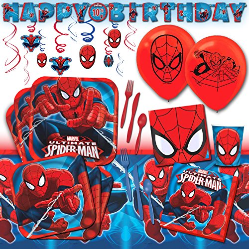 Deluxe Marvel Spider-Man Superhero Childrens Birthday Party Pack Decoration Kit For 16