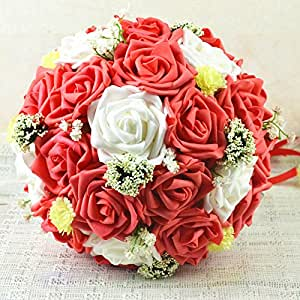 coeus 30 pcs of ivory and red roses wedding bouquet rose bouquet made by hand. Black Bedroom Furniture Sets. Home Design Ideas
