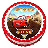 PERSONALISED Disney Cars Edible Birthday Icing Cake Topper 7.5