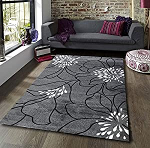 Blossom Grey Black White Extra Large Quality Home Rug by Modern Style Rugs