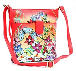 Genuine Leather Women\'s Handbag Hand Painted Handmade Shoulder Bag Hobo Tote 3502