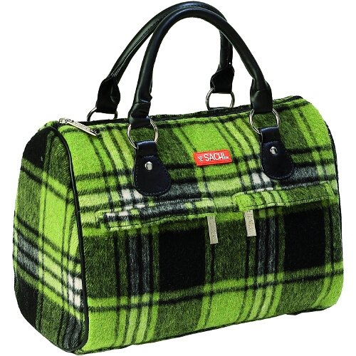 Sachi Green Plaid Flannel Speed Style Insulated Lunch Bag - 1