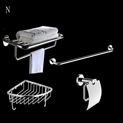 Stainless Steel Pendant Set Bathroom Hardware Rack Set (a Total Of 4) ( Color : N )