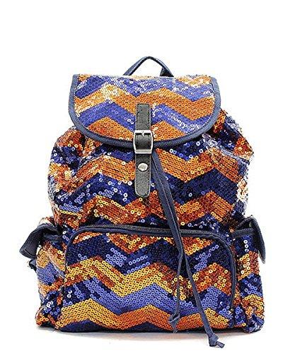 Sequin Chevron Stripe Backpack Handbag (NAVY BLUE & ORANGE)