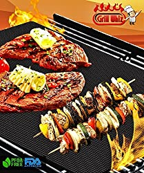 BBQ Grill Mat set of 2 by Grill Whiz. Premium Mats for Outdoor, Charcoal, Gas & Electric Grills. 100% Non Stick. Free Bonus. Perfect for Grilling Steak, Chicken, Burgers, Vegetables, and Seafood. Reusable, Dishwasher Safe. Doubles as Baking Mat. Up to 150