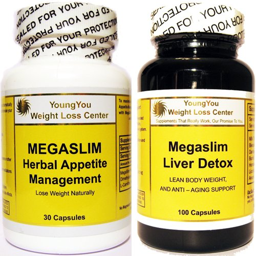 Combo MegaSlim Two In One Extra Strength Weight Loss Pills Appetite Suppressant active Fat Burner and Liver Detox for quicker Weight Loss results