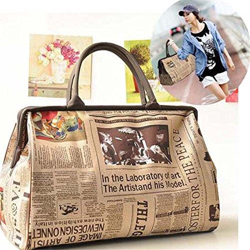 Chic Girl'S Fashionable Casual Tote Shoulder Bag Purse Satchel Handbag Newspaper Design front-850797