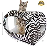 ***NEW*** Cardboard Cat Houses For Indoor & Outdoor Cats -The Kitty Camper Is The Perfect Play House, Cave, Igloo, Condo or Pet Bed - Just Add Toys a Blanket & Feel Good About Leaving Your Kitten & Pets at Home- FREE EBook - Money Guarantee -ZEBRA