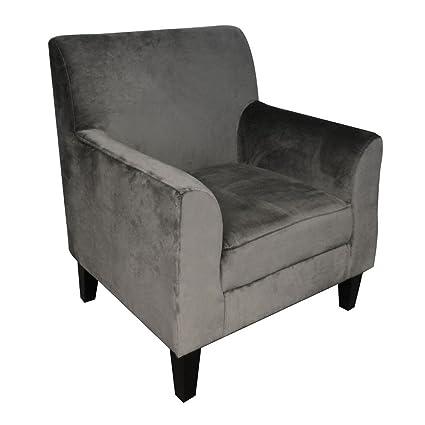 Protege Homeware Cotton Velvet Grey Medan Chair