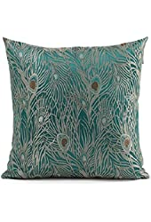 Fablegent® - Sapphire Blue Peacock Design - Elegant Decorative Throw Pillow Cover