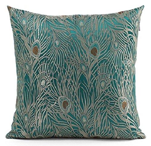 Decorative Pillows Peacock : Fablegent 18 x 18-Inch Sapphire Blue Peacock Design Elegant Decorative Throw Pillow Cover ...