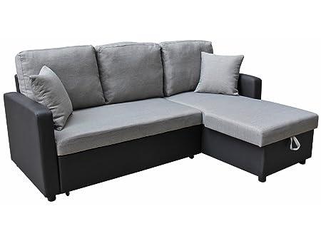 Sofá cama esquinero de téla ALLEN con baúl para almacenamiento - color gris y negro