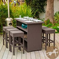 Outdoor Patio Seven Piece Brown Wicker Bar Set with 6 Backless Bar Stools and Bar Table, Storage Shelving, and Weatherproof Material by Christopher Knight