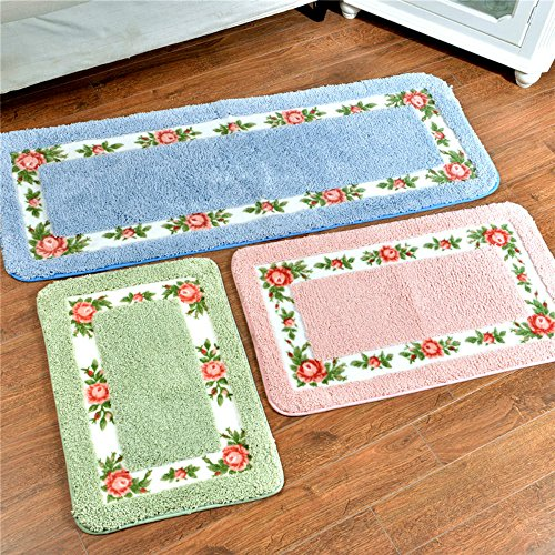 Sytian® Decorative Floral Rural Design Beautiful Rose Flower Rug Non Slip Absorbent Shaggy Area Rugs Super Soft Bath Mat and Rugs Bathroom Rug Shower Mat (15.75*23.62 Inch) (Nice Green)