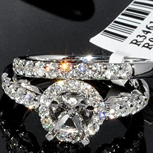 Semi Mount Wedding Set 2pc 1.10ct 14K White Gold Halo design Vintage Rings