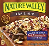 Nature Valley Chewy Trail Mix, Variety Pack of Dark Chocolate & Nut and Fruit & Nut, 7.4 oz, 6 Count, 12 Pack